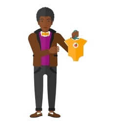 man holding clothes for baby vector image