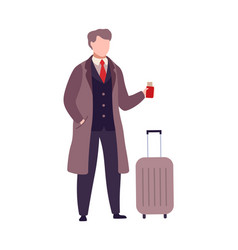 man with suitcase and passport with boarding vector image
