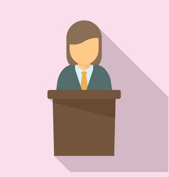Manager woman speaker icon flat style vector
