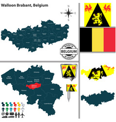 map of walloon brabant belgium vector image