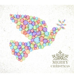 Merry Christmas watercolor spot peace dove vector