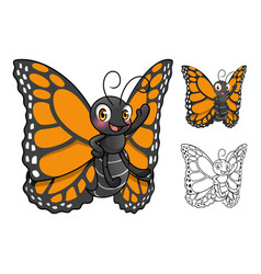 monarch butterfly cartoon character design vector image