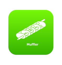 Muffler icon green vector