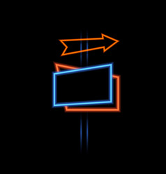 neon glowing signboard and arrow on a dark vector image
