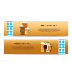Oktoberfest beer festival horizontal banners vector