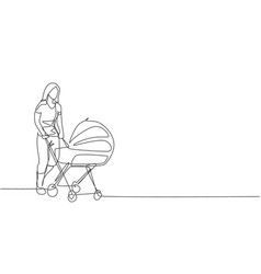 One continuous line drawing young happy mother vector