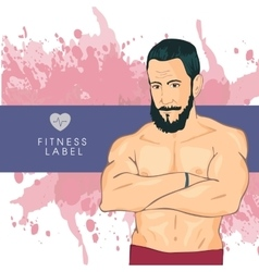 Personal fitness trainer in gym Promotional vector