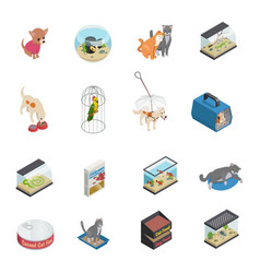 Pet shop icons set vector