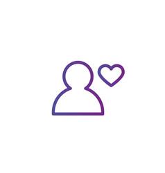 purple linear outline person icon user icon vector image