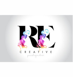 Re vibrant creative leter logo design with vector