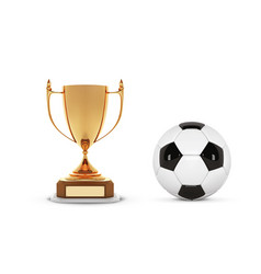 realistic golden trophy cup with soccer ball vector image