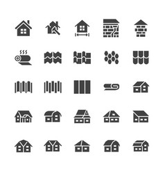 roofing flat glyph icons house construction roof vector image