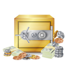 Safe and money stacks safe coins and vector