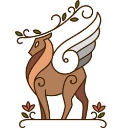Scandinavian deer spirit of nature vector