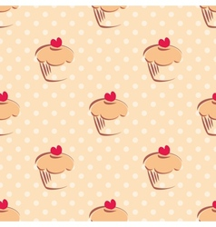 Seamless pattern or texture with cupcakes and dots vector image