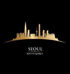 Seoul south korea city skyline silhouette black vector