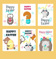Set of greeting cards with easter animals vector