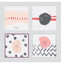 Set of square cards handdrawn decorated with vector