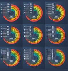set presentation informative infographic circle vector image