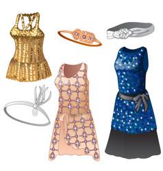 set women dresses and belts vector image