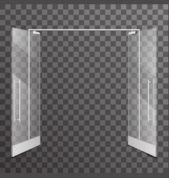shop double open doors transparent realistic glass vector image