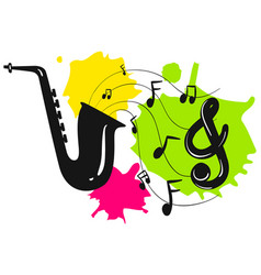 Silhouette saxophone with music notes vector