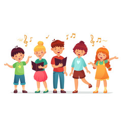 Singing kids music school kid vocal group and vector