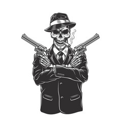 Skeleton gangster with revolvers vector