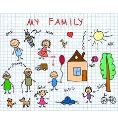 Stick Family Drawing vector image
