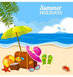 Summer seaside view on beach poster vector