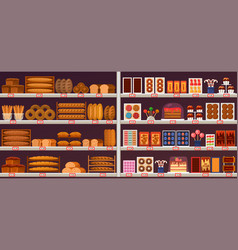 sweets and bakery stall or showcase at shop vector image