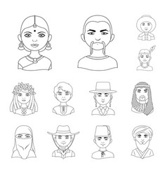 The human race outline icons in set collection for vector