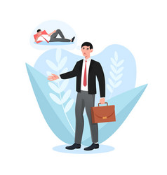tired sleepy male character with briefcase vector image