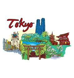 Tokyo doodles vector