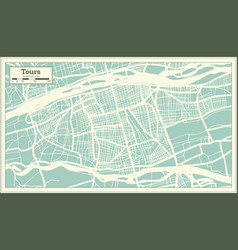 Tours france city map in retro style outline map vector