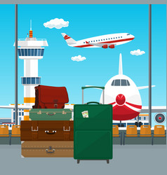 travelers luggage at the airport vector image