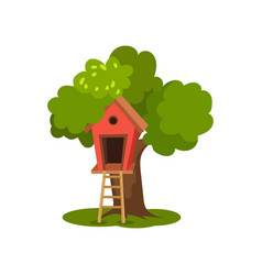 Tree house wooden hut on green tree with ladder vector