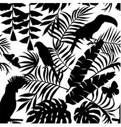 tropical birds butterflies and palm leaves vector image
