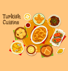 Turkish cuisine meat dishes with dessert icon vector