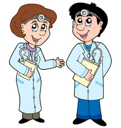 two cartoon doctors vector image