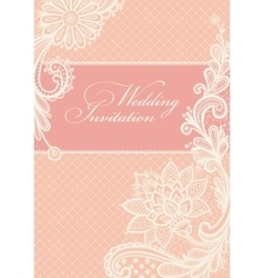 Wedding invitations with vintage lace background vector