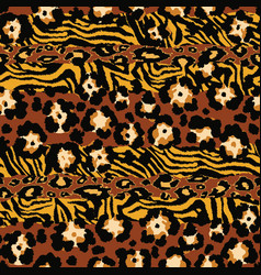 Wild animal leopard and tiger skins patchwork vector