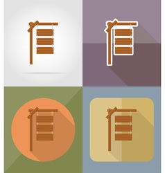 wooden board flat icons 03 vector image