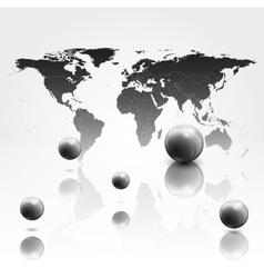 World mab background with 3D spheres vector image
