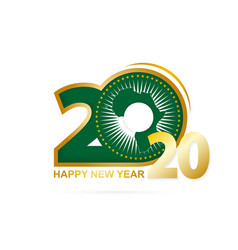 Year 2020 with african union flag pattern happy vector