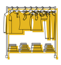 Yellow watercolor silhouette of clothes rack with vector