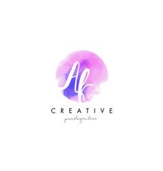 ak watercolor letter logo design with purple vector image