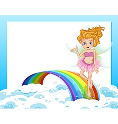 An empty template with a fairy above the rainbow vector image