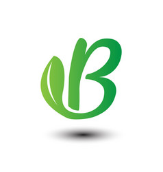 b green leaves letter ecology logo vector image vector image