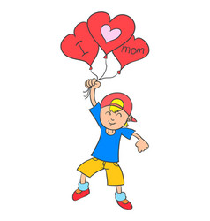 collection stock boy with balloon for mother vector image
